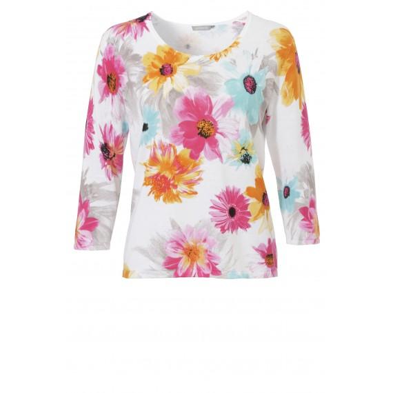 Print-Pullover aus reiner Baumwolle /