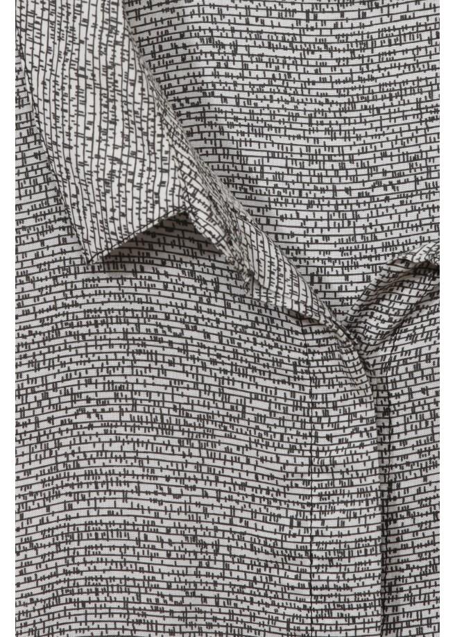 Hemdkragen-Bluse mit Grafik-Muster /