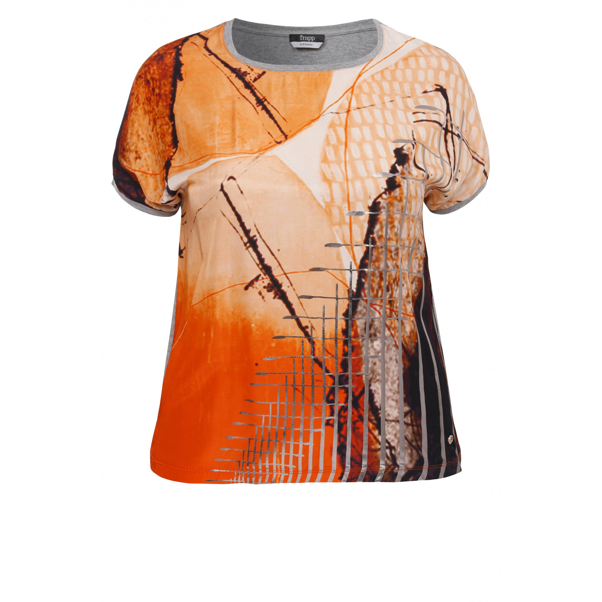 Modisches T-Shirt im Materialmix