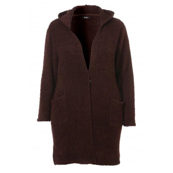 Flauschiger Mantel mit Kapuze /