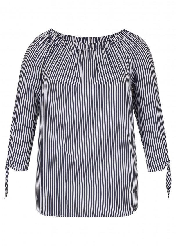 d1fb11421ba4a0 Sommerliche Carmen-Bluse mit Allover-Streifen navy / white Frontansicht  navy / white Rückansicht Neu