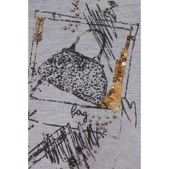 Fashion-Shirt mit Strass und Perlen /