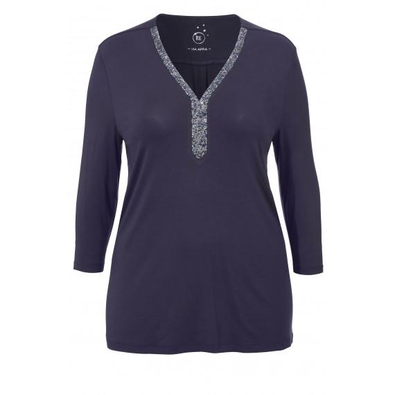 Elegantes V-Shirt mit Strass-Besatz /