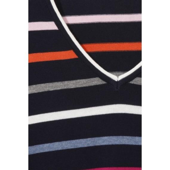 Fröhlicher Pullover mit Ringel-Muster /