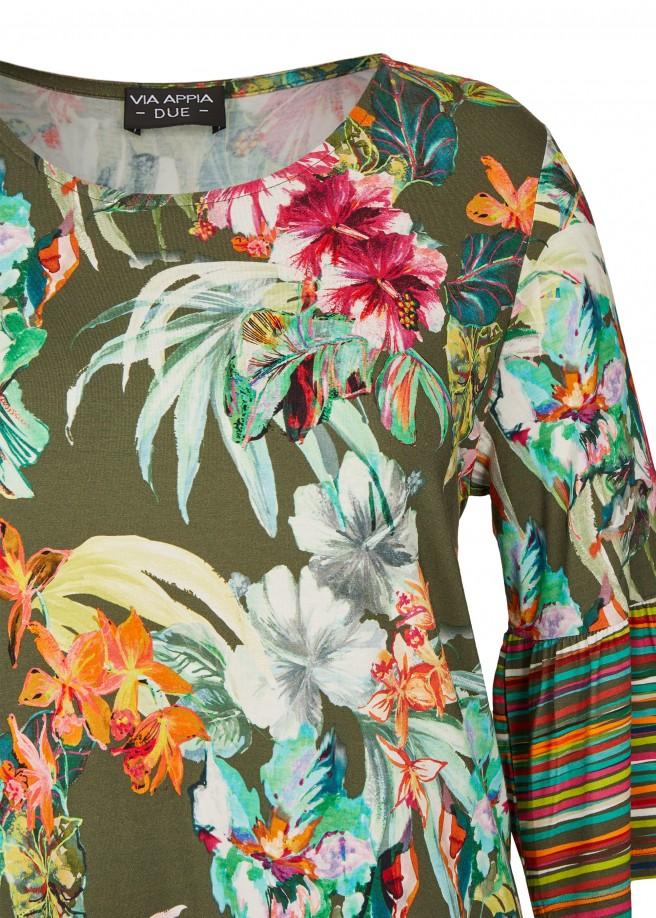 Fließende Shirt-Tunika mit buntem Print /