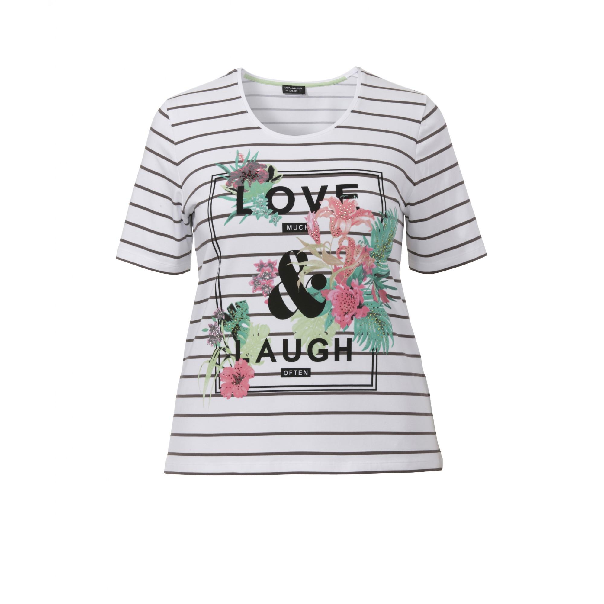 Geringeltes Print T-Shirt ´´Love & Lough´´