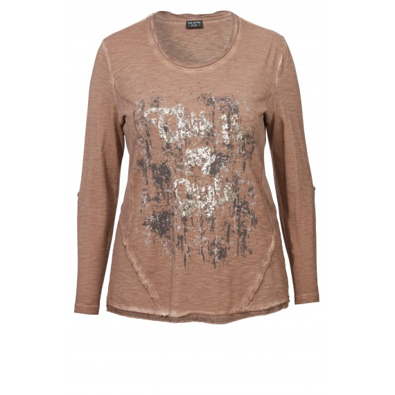 Bedrucktes Pailletten-Shirt im Vintage-Stil /