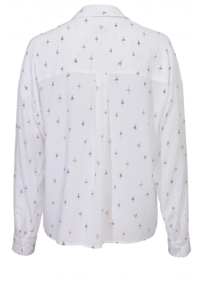 Bluse mit Hemdkragen und Print-Muster /