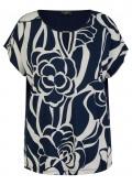 Feminines Print-Shirt mit Cut-Out und einfarbigem Rücken /