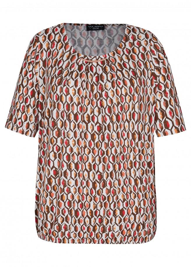 Modernes Blusenshirt mit geometrischem Allover-Muster /