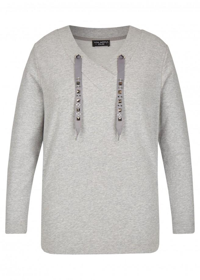 Feminines Sweatshirt mit Ziersteinchen /