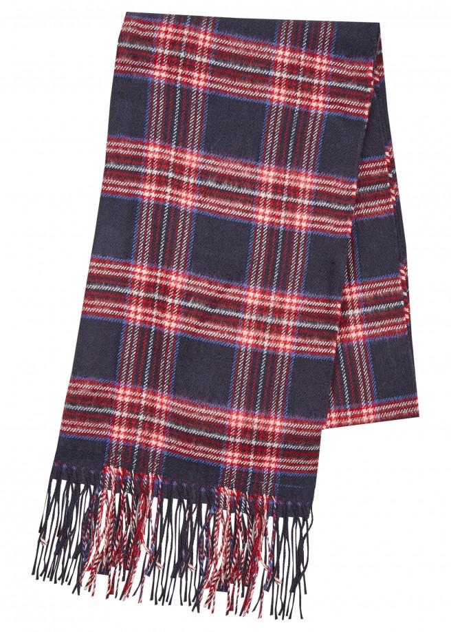 Flauschiger Schal mit Tartan-Muster /