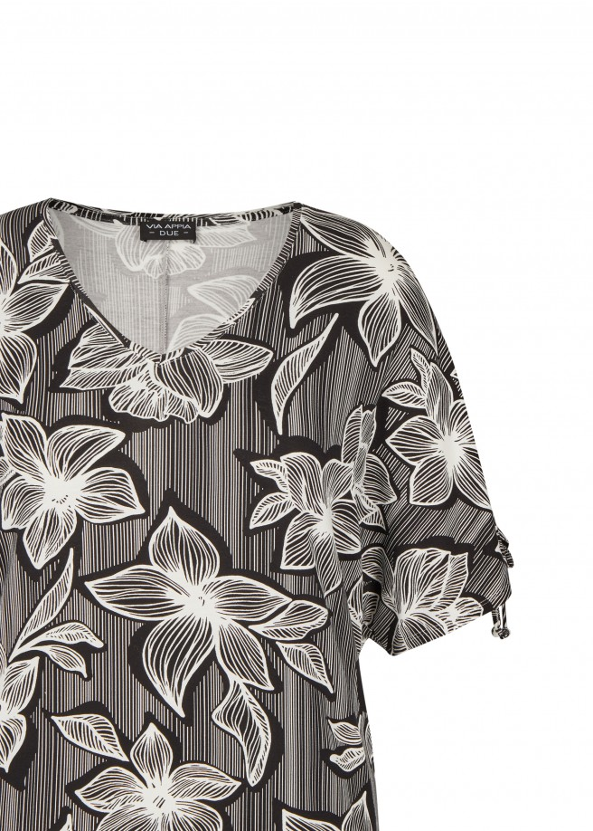 Monochromes T-Shirt mit Front-Print /