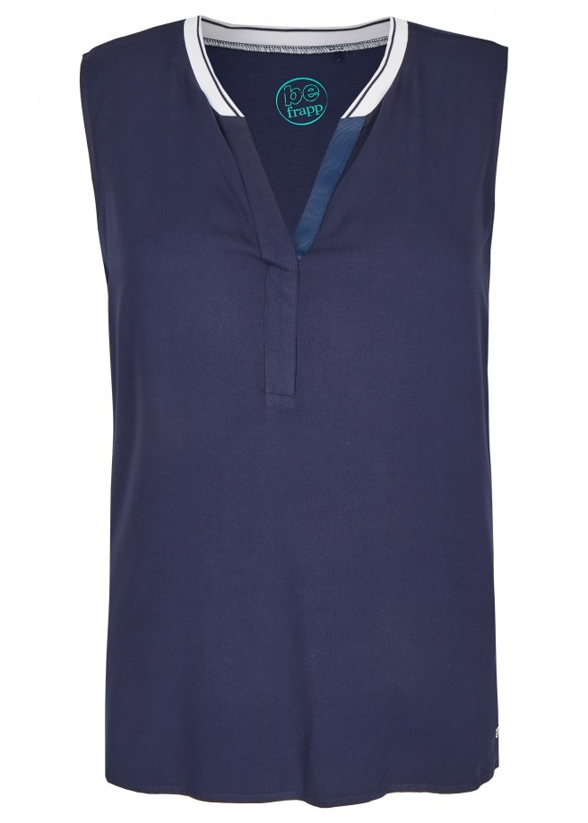 Sportive Bluse in ärmellosem Design /