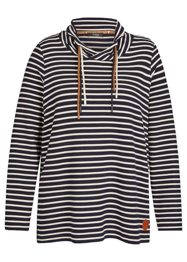 Geringeltes Sweatshirt mit strukturiertem Stoff /