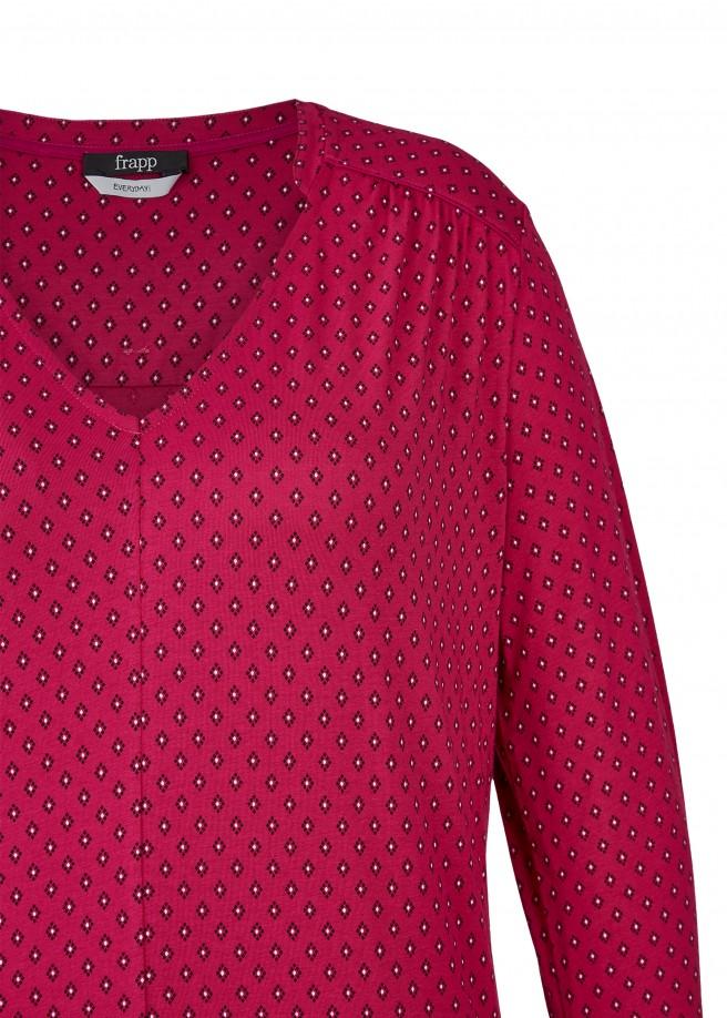 Legeres V-Shirt mit Allover-Rauten /