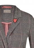 Blazer mit Glencheck-Muster und Herz-Brosche /